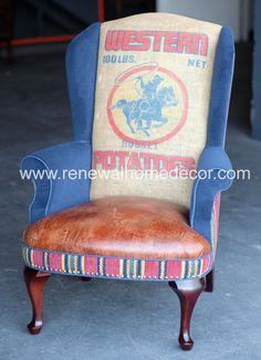 Custom Order Upholstered vintage wingback by ReNewalHomeDecor