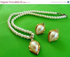 MOM DAY SALE Vintage Faux Pearl Necklace and by LaylaBaylaJewelry