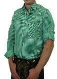 Trachtenhemd FERDL kariert mit edlen Karo Kontrasten 100% Baumwolle  Farbe wählbar - Größen:S;Farben:gras/weiss %u!!%