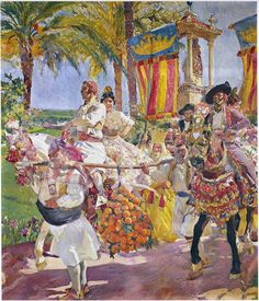 Joaquin Sorolla Y Bastida Riding in a group, Valencia hand embellished reproduction on canvas by artist Spanish Painters, Spanish Artists, Claude Monet, Madrid, Getty Museum, Book Of Hours, Lovers Art, Canvas Art Prints, Les Oeuvres