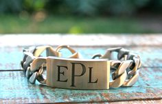 Mens Stainless Jewelry Mens Engraved Bracelet by linksofhope, $40.00