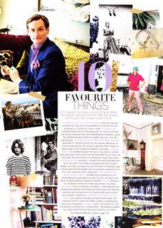 Hamish Bowles' 10 Favorite Things, as seen in Vogue Australia
