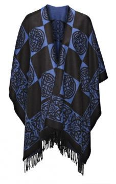Irish Shawl -  Chic Celtic Knotwork. A stunning Irish Shawl in blue and black. 100% woven acrylic jacquard and designed with Celtic knot work by Jimmy Hourihan of Dublin, Ireland.
