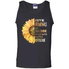 Hippie Grandmas Are Sunshine Mixed With a Little Hurricane Sunflower Black Tank Top Flower Children, Hippie Shirt, Ash Grey, Black Tank Tops, Digital Prints, Size Chart, Heather Grey, Tank Man, Cotton