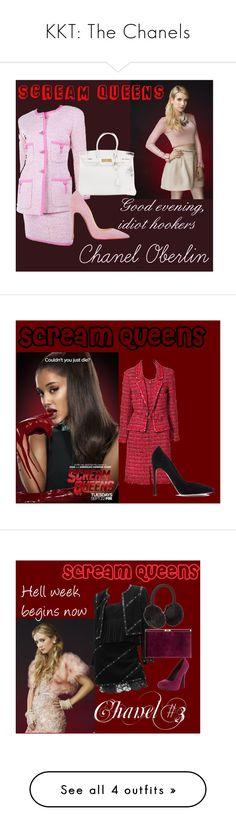 """KKT: The Chanels"" by stephi-arianne ❤ liked on Polyvore featuring ScreamQueens, KKT, Chanel, Hermès, Christian Louboutin, Gianvito Rossi, Karl Lagerfeld, Monsoon, John Lewis and Qupid"