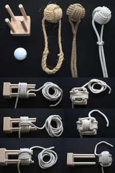 Having the monkey's fist and its heaving line tied together instead of all in one piece frees both to do other jobs. Paracord Knots, Rope Knots, Paracord Bracelets, Rope Crafts, Diy And Crafts, Sailing Knots, Monkey Fist Knot, Survival Knots, Knots Guide