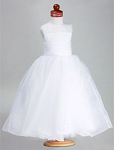 Ball Gown Jewel Ankle-length Organza Satin Flower Girl Dress – USD $ 69.99