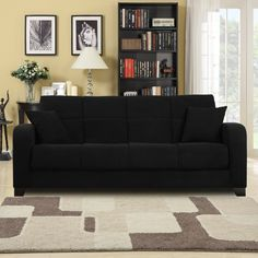 Craig Black Microfiber Convert-a-Couch Futon Sofa Sleeper   Overstock.com
