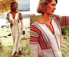 Vintage Crochet Pattern-70s Crocheted Caftan Dress- Boho Bohemian Hippie Bikini Cover Retro pdf file-Digital Pattern Vtg DIY