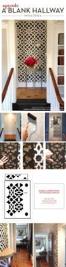 Cutting Edge Stencils shares a DIY stenciled hallway using the Zamira Allover Stencil. http://www.cuttingedgestencils.com/moroccan-stencil-designs.html