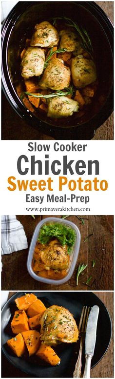 Slow Cooker Chicken and Sweet Potato - This Slow Cooker Chicken and Sweet Potato only requires 6-ingredient, 10 minutes to prep and it is a healthy and easy meal-prep recipe for during the week! paleo lunch prep