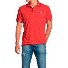 41b47a14d Polo Vermelha Hollister Masculina Fabricado com Tecido Pique que sente na  mão seco e robusto