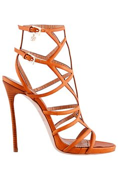 Dsquared² - 2015 Spring-Summer orange strappy high heel sandals. www.ScarlettAvery.com