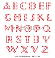 Cross Stitch Alphabet, Upper Case Letters