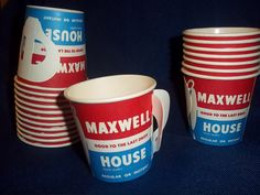 vintage MAXWELL HOUSE paper Coffee Cups Unused quantity of 6, 12, or 50. Red, white, Blue, NOSTALGIC via Etsy