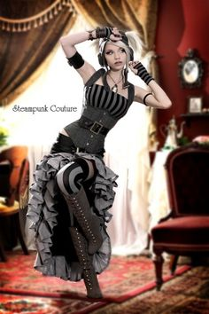 Steampunk in gray Black and gray Vex skirt by Steampunk Couture. this is totally my sister Andrea Steampunk Couture, Moda Steampunk, Style Steampunk, Victorian Steampunk, Steampunk Clothing, Steampunk Fashion, Gothic Fashion, Look Fashion, Gothic Clothing