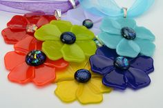 Poppy Pendant fused glass pendant your choice of by Artdefleur
