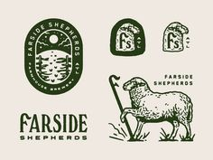 Love the old school linework and vintage workings of this branding for Farside Shepherds by Alana Louise Self Branding, Logo Branding, Branding Design, Badges, Sheep Logo, Typographie Logo, Farm Logo, Hand Drawn Logo, Vintage Logo Design
