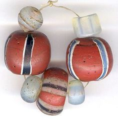 Antique Venetian Brick Red Striped Beads Moon Beads African Trade