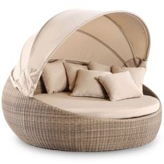 Newport Large Round Outdoor Day Bed w/ Canopy Wheat | Buy Rattan & Wicker