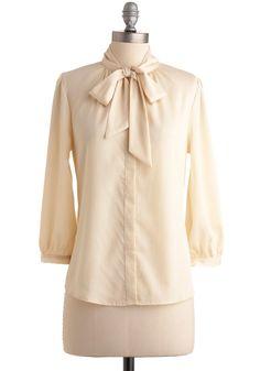 Vanilla Milk Top - Cream, Solid, Work, Long Sleeve, Fall, Pastel, Tie Neck, Best Seller, Button Down, Mid-length