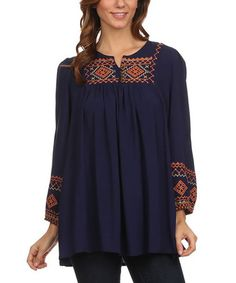 Look what I found on #zulily! Navy Geo-Panel Peasant Tunic - Plus Too #zulilyfinds