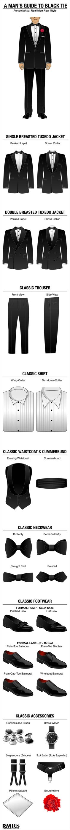 Booooo to the pleated pants and 1 button I like 2 but hey ! How To Wear Black Tie Infographic – Visual Guide To Wearing A Tuxedo (via Covelo Covelo Covelo Covelo Covelo Centeno) Wearing A Tuxedo, Wearing Black, Der Gentleman, Gentleman Style, Sharp Dressed Man, Well Dressed Men, Fashion Moda, Mens Fashion, Black Tie Tuxedo