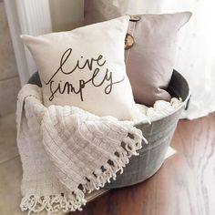 Hand made Live Simply pillow cover by Parris Chic Boutique. Available at Parrischic.com. Photo by @happyeverydayhome
