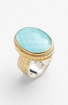 Gorgeous!  Anna Beck 'Gili' Turquoise Oval Ring  #wishlist