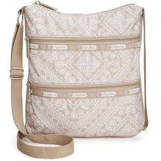 LeSportsac Kylie Crossbody ($18) ❤ liked on Polyvore featuring bags, handbags, shoulder bags, bandana lace khaki, lesportsac, lesportsac purse, strap purse, pink crossbody and pocket purse