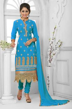 Blue Cotton Churidar Suit with Chiffon Dupatta Price: RM189.00 Blue Cotton, semi stictch churidar suit.   Chinese collar kameez, Above knee length, quarter sleeves kameez.   Blue santoon churidar.   Blue chiffon dupatta with lace border with work.  It is perfect for casual wear, festival wear and party wear wear. http://www.andaazfashion.com.my/salwar-kameez/trouser-suits/view/new-arrival-trouser-suit