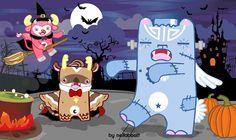 neilabbott: ilustraciones y diseños | Monsters Friends in Halloween (neilabbott calendar...