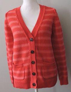Boden Striped V-Neck Knit Women Cardigan Sweater Size US 8  #Boden #VNeckCardigan