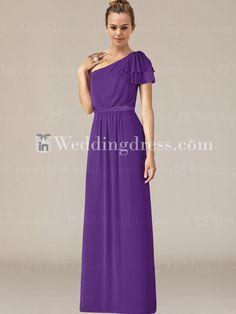 One-Shoulder Flutter Sleeve Chiffon Bridesmaid Dress BR330 - violet