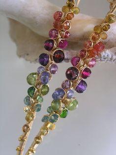 Rainbow Gemstone Encrusted Earrings Gold Filled by bellajewelsII