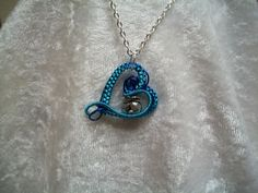 $16.50 Blue Bunny Rabbit Heart Handcrafted Copper Wire Wrapped Necklace #Handmade #Pendant
