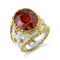 Victor Velyan: 24K Gold, Silver  Ring in White Patina  Spessartite Garnet