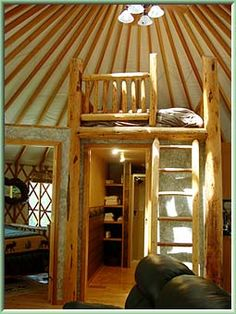 nice yurt loft/bath combo--solves the desire for an extra bed and need to wall off bath nicely