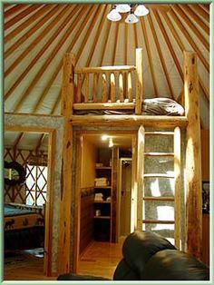 Bathroom Yurt yurt with a loft above kitchen - how cool! | yurt, straw bale