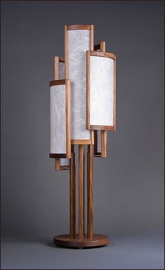 The Silo Table Lamp Walnut Shoji Paper U0026 Stainless By Castlewerks