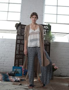 Wide Leg Knit Trousers and Embroidered Tank