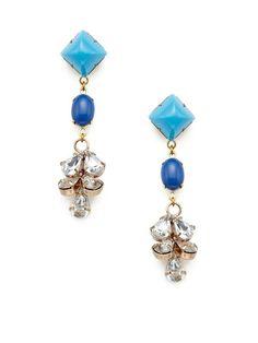 Blue Triple Drop & Clear Cluster Earrings by Lulu Frost