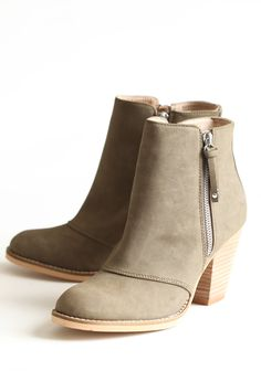 "Hull Bootie By Chelsea Crew 74.99 at shopruche.com. The perfect all seasons shoe, these taupe booties by Chelsea Crew are styled with a stacked heel, topstitched details, and side zipper closures.Man-made materials upper, Leather lining, 2.5"" heel, 4.5"" boot shaft"