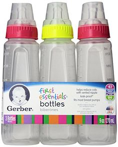 Gerber First Essentials Clearview Bottle Vented Nipple 1 ea Color May Vary 4pk