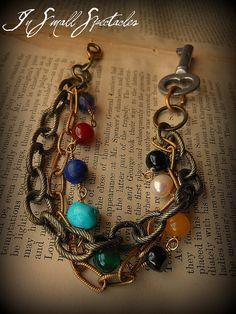 Vintage Key and Gemstone Bracelet