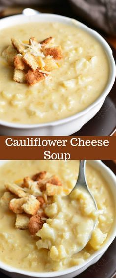 This simple cauliflower cheese soup recipe takes only a… Cauliflower Cheese Soup. This simple cauliflower cheese soup recipe takes only about 40 minutes to make and you will be enjoying this cheesy, creamy, hearty soup. Crock Pot Recipes, Beef Soup Recipes, Ground Beef Recipes, Vegetarian Recipes, Cooking Recipes, Healthy Recipes, Keto Recipes, Cheese Recipes, Cooking Tips