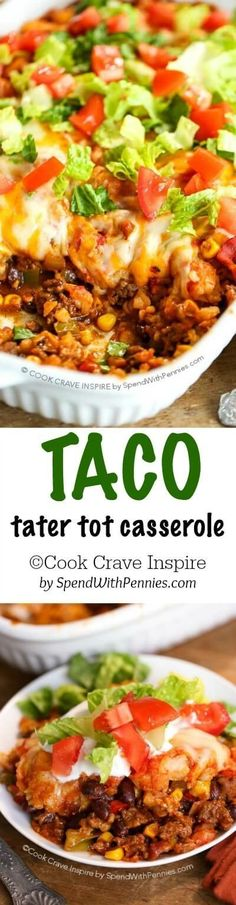 Tater Tot Taco Casserole! This easy casserole has layers ground beef and veggies topped with Tater Tots & cheese. It's one dish we just can't get enough of!