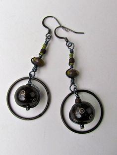 bohemian wire wrapped dangle earrings with by magpiesTrinket, $15.00