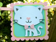 Little Kitty Cat Birthday Banner MADE TO por CelebrationPaperCo