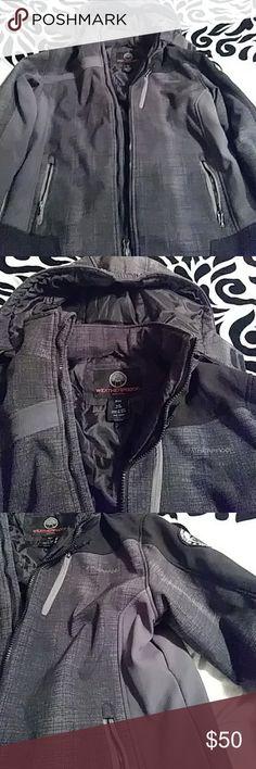 Young men's weatherproof coat Black and grey insulated coat weatherproof Jackets & Coats
